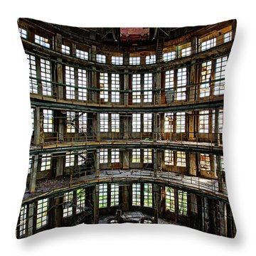 Abandoned Factory Hall - Industrial Decay Throw Pillow by Dirk Ercken
