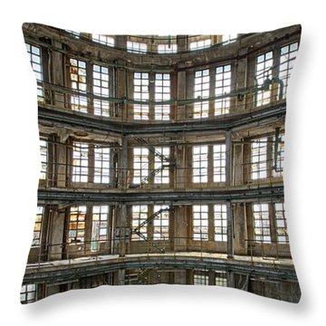Throw Pillow featuring the photograph Abandoned Factory Tower - Panorama Industrial Decay by Dirk Ercken