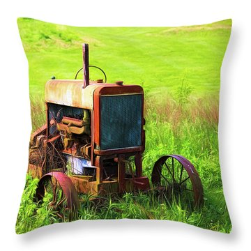 Abandoned Farm Tractor Throw Pillow
