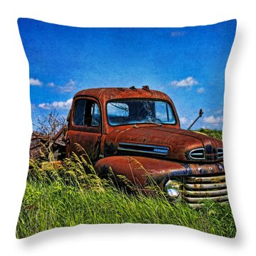 Abandoned Ford Truck In The Prairie Throw Pillow