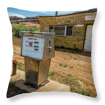 Abandoned Gas Station Throw Pillow