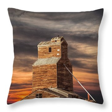 Abandoned Grain Elevator On The Prairie Throw Pillow