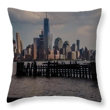 Abandoned Hoboken Pier Throw Pillow