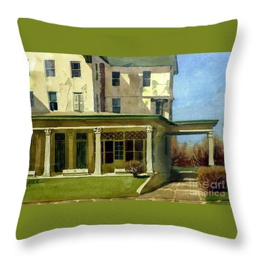 Abandoned Hotel Throw Pillow by Donald Maier