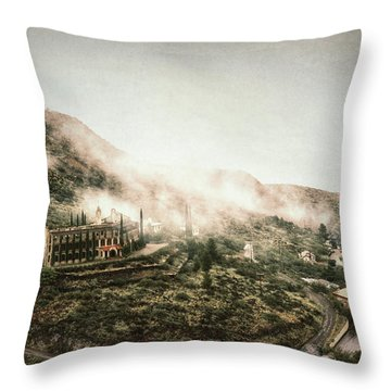 Abandoned Hotel In The Fog Throw Pillow