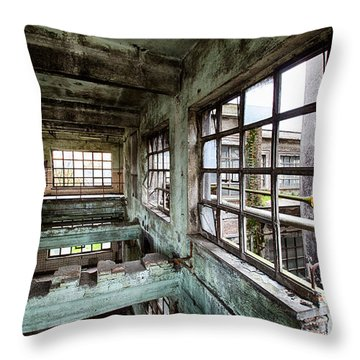 Abandoned Industrial Distillery  Throw Pillow by Dirk Ercken
