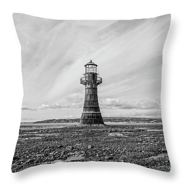 Throw Pillow featuring the photograph Abandoned Light House Whiteford by Edward Fielding