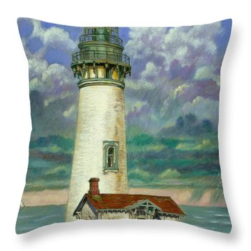 Abandoned Lighthouse Throw Pillow by John Lautermilch