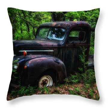 Abandoned - Old Ford Truck Throw Pillow