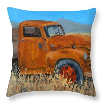 Abandoned Orange Chevy Throw Pillow