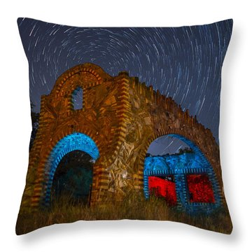 Abandoned Outlaw Gas Station Throw Pillow