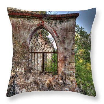 Abandoned Places Iron Gate Over The Sea - Cancellata Sul Mare Throw Pillow