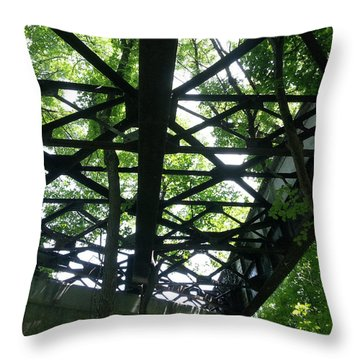 Abandoned Railroad Bridge Throw Pillow