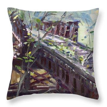 Abandoned Railroad Bridge In Tonawanda Throw Pillow