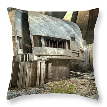 Abandoned Rial Station Throw Pillow