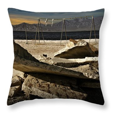 Throw Pillow featuring the photograph Abandoned Ruins On The Eastern Shore Of The Salton Sea by Randall Nyhof