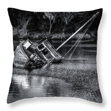 Abandoned Ship In Monochrome Throw Pillow