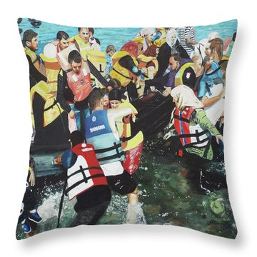 Throw Pillow featuring the painting Abandoned Souls by Eric Kempson