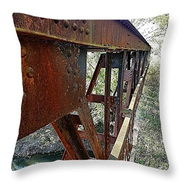Abandoned Steel Bridge Nashville Indiana Throw Pillow