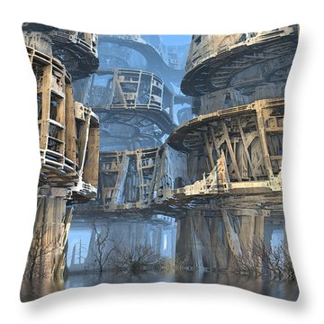 Abandoned Swamp Village Throw Pillow