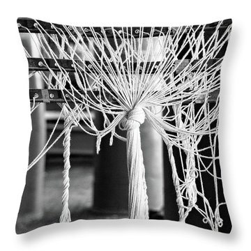 Throw Pillow featuring the photograph Abandoned Textile Mill, Lewiston, Maine  -48692-bw by John Bald