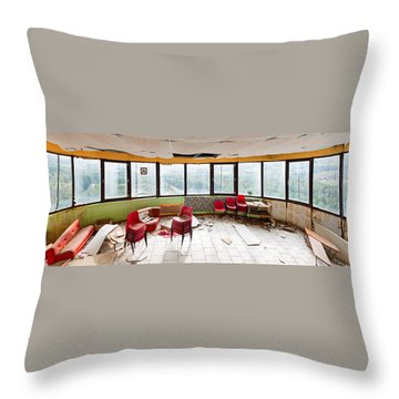 Abandoned Tower Restaurant - Urban Panorama Throw Pillow by Dirk Ercken