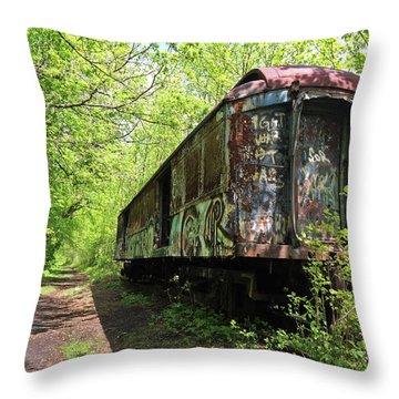 Abandoned Train Car Throw Pillow by Elsa Marie Santoro