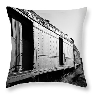 Abandoned Train Cars Throw Pillow