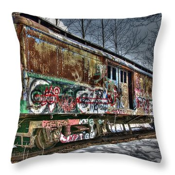 Abandoned Train Throw Pillow