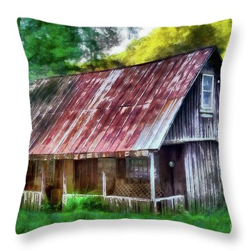 Throw Pillow featuring the photograph Abandoned Vintage House In The Woods Ap by Dan Carmichael