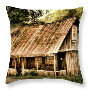 Throw Pillow featuring the photograph Abandoned Vintage House In The Woods by Dan Carmichael