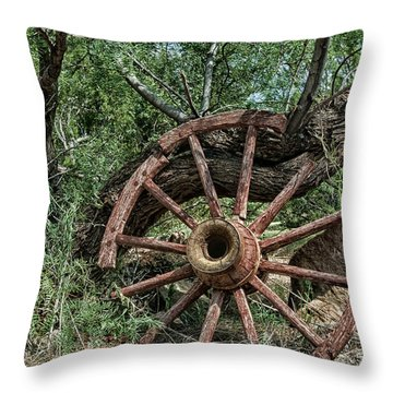 Abandoned Wagon Wheel Throw Pillow