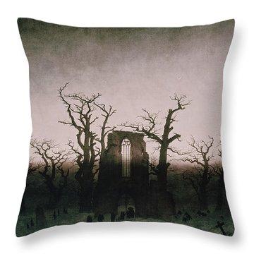 Abbey In The Oakwood Throw Pillow by Caspar David Friedrich