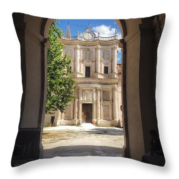 Abbey Of The Holy Spirit At Morrone In Sulmona, Italy Throw Pillow