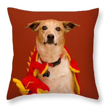 Abbie And A Dragon Throw Pillow