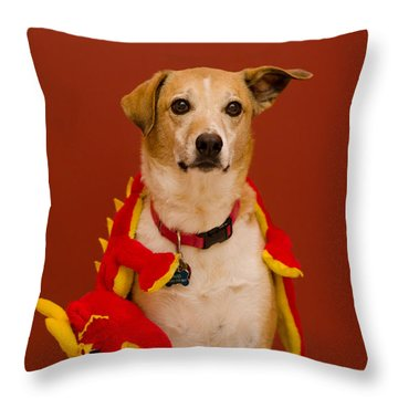 Abbie And Dragon Toy Throw Pillow
