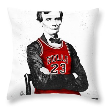 Abe Lincoln In A Michael Jordan Chicago Bulls Jersey Throw Pillow