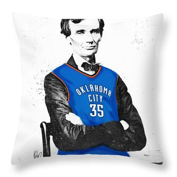 Abe Lincoln In An Kevin Durant Okc Thunder Jersey Throw Pillow by Roly Orihuela