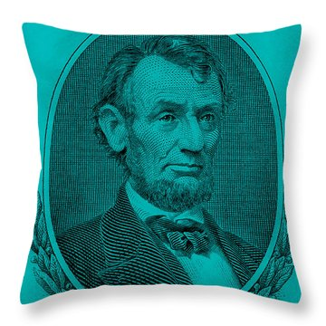 Throw Pillow featuring the photograph Abe On The 5 Aqua Blue by Rob Hans