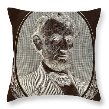 Throw Pillow featuring the photograph Abe On The 5 B W Inverted Brown by Rob Hans