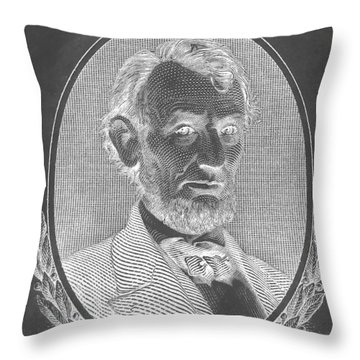 Throw Pillow featuring the photograph Abe On The 5 B W Inverted by Rob Hans