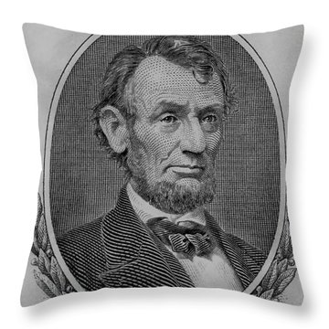Throw Pillow featuring the photograph Abe On The 5 B W by Rob Hans
