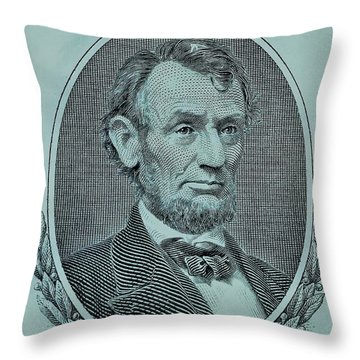 Throw Pillow featuring the photograph Abe On The 5 Lite Blue by Rob Hans