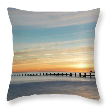 Aberdeen Beach Sunrise Throw Pillow