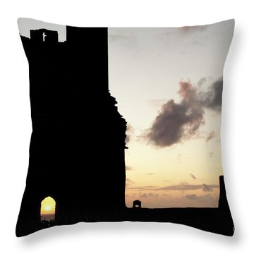 Aberystwyth Castle Tower Ruins At Sunset, Wales Uk Throw Pillow