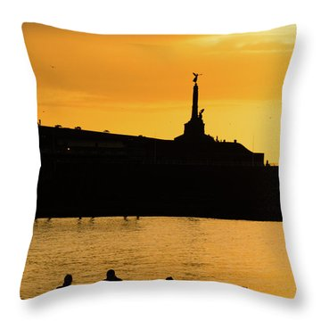 Aberystwyth Sunset Silhouettes Throw Pillow