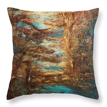Throw Pillow featuring the painting Lagoon by Patricia Lintner