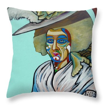 Abigail Adams Throw Pillow by Gray