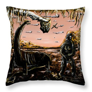 Throw Pillow featuring the painting Abiogenesis  by Ryan Demaree