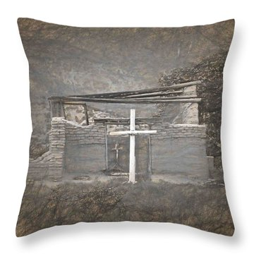 Abiquiu Nm Church Ruin Throw Pillow